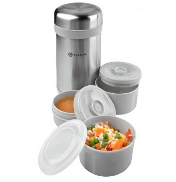 Термос обеденный, 1200мл, 3 пищевых контейнера